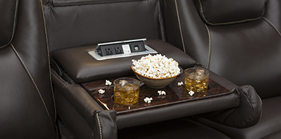 Seatcraft Vienna Home Theater Sofa Fold-Down Table