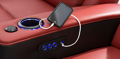 Seatcraft Diamante Home Theater Seats USB Charging Station