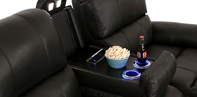 Seatcraft Madison Home Theater Sofa Fold-Down Table
