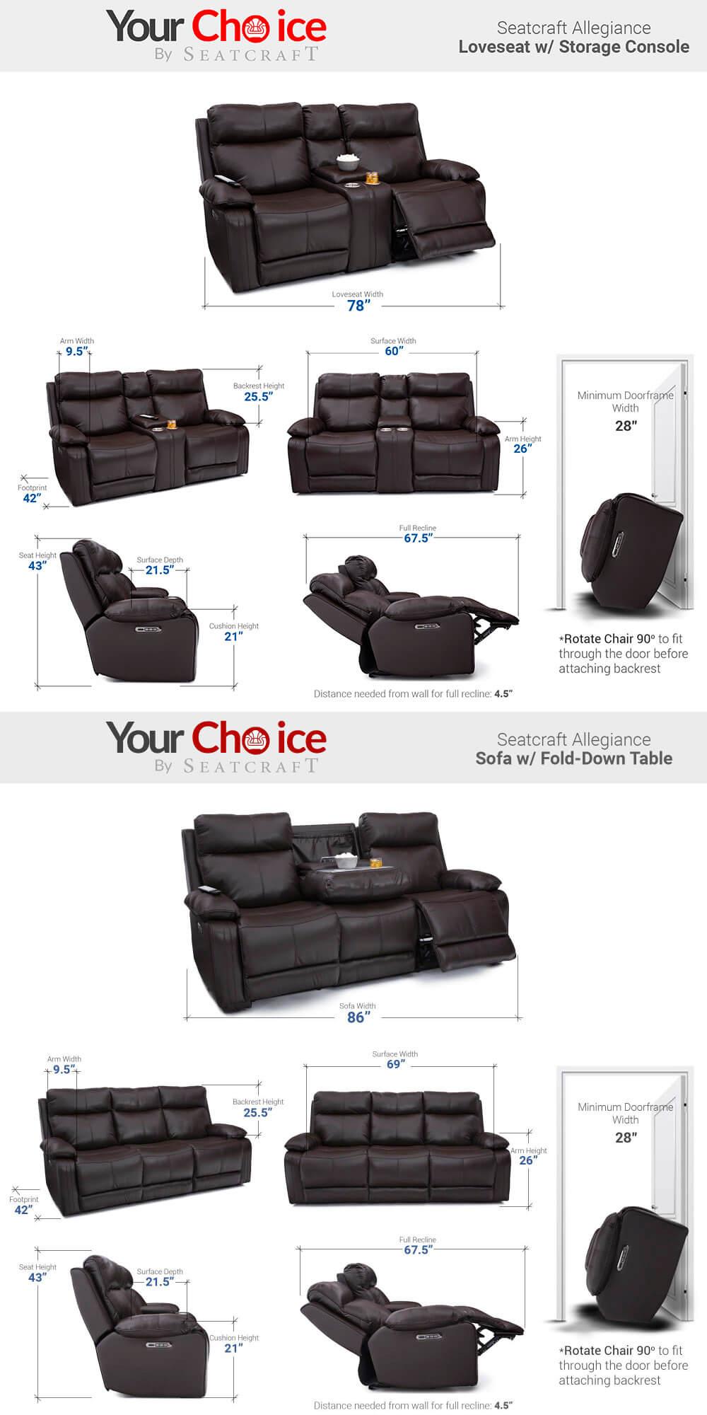 Seatcraft Allegiance Media Room Seating Dimensions