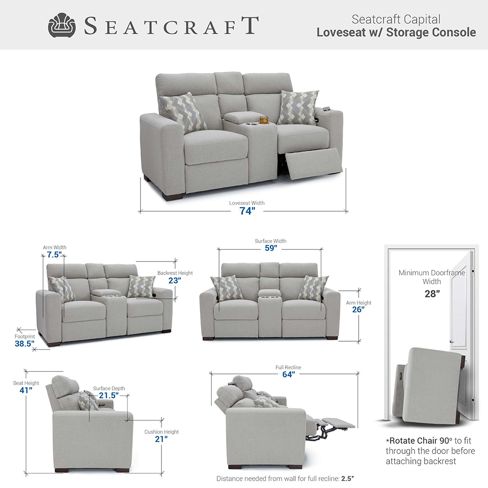 Seatcraft Capital Media Room Seating Dimensions