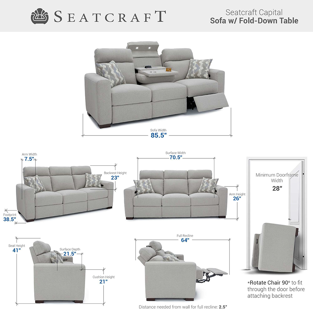 Seatcraft Capital Living Room Furniture Size