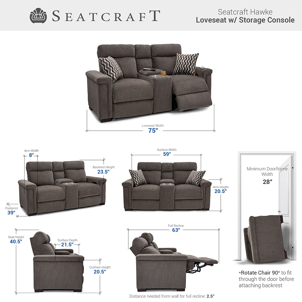 Seatcraft Hawke Media Room Seating Dimensions