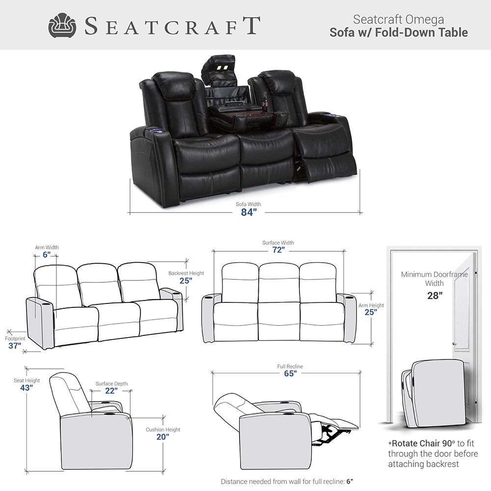 Seatcraft Omega Home Theater sofa dimensions