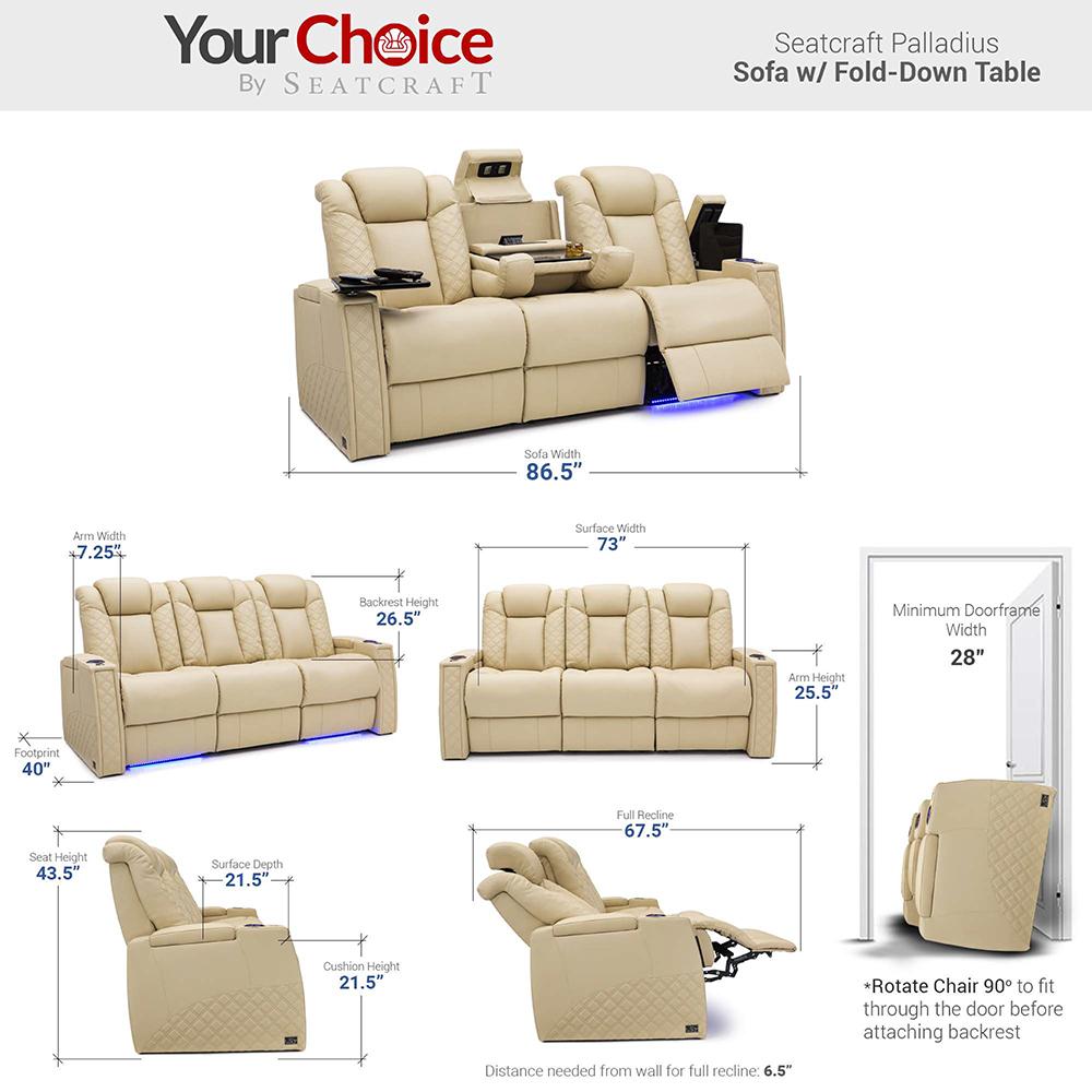Seatcraft Palladius Dimensions for Luxury Theater Sofas