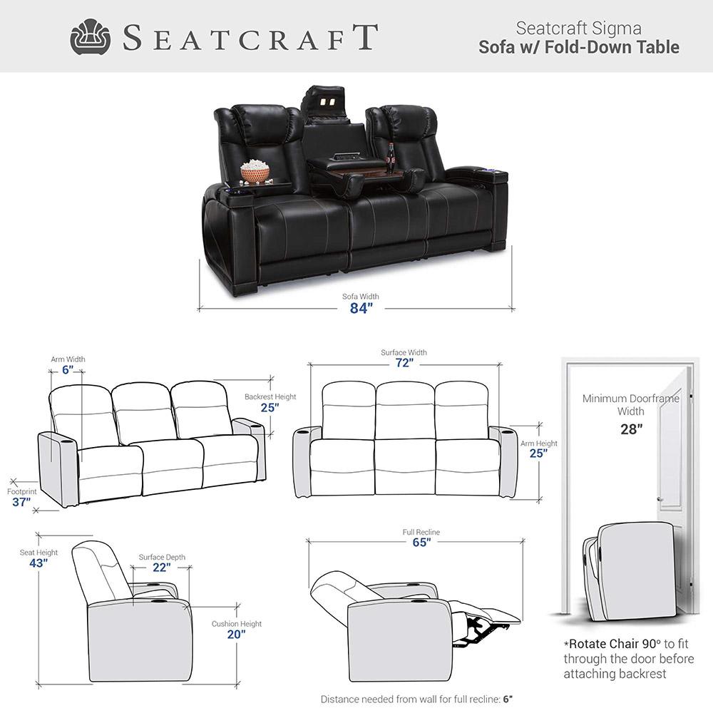 Seatcraft Omega Home Theater sofa dimensions