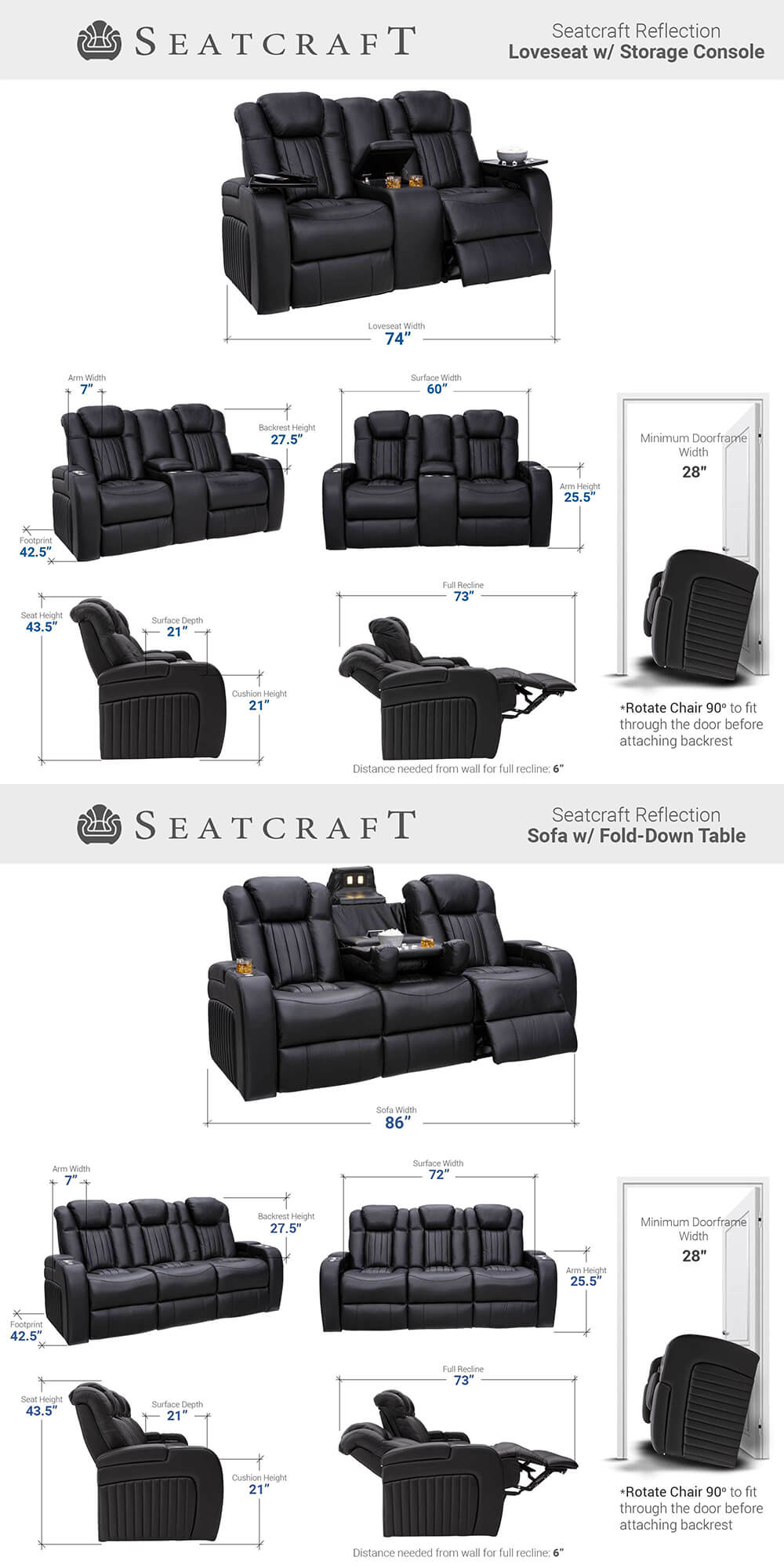 Seatcraft Tiberius Home Theater Sofa & Loveseat