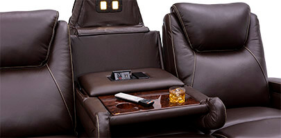 Seatcraft Colosseum Home Theater Sofa Fold-Down Table