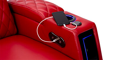 Seatcraft Solarium Home Theater USB Charging Armrests